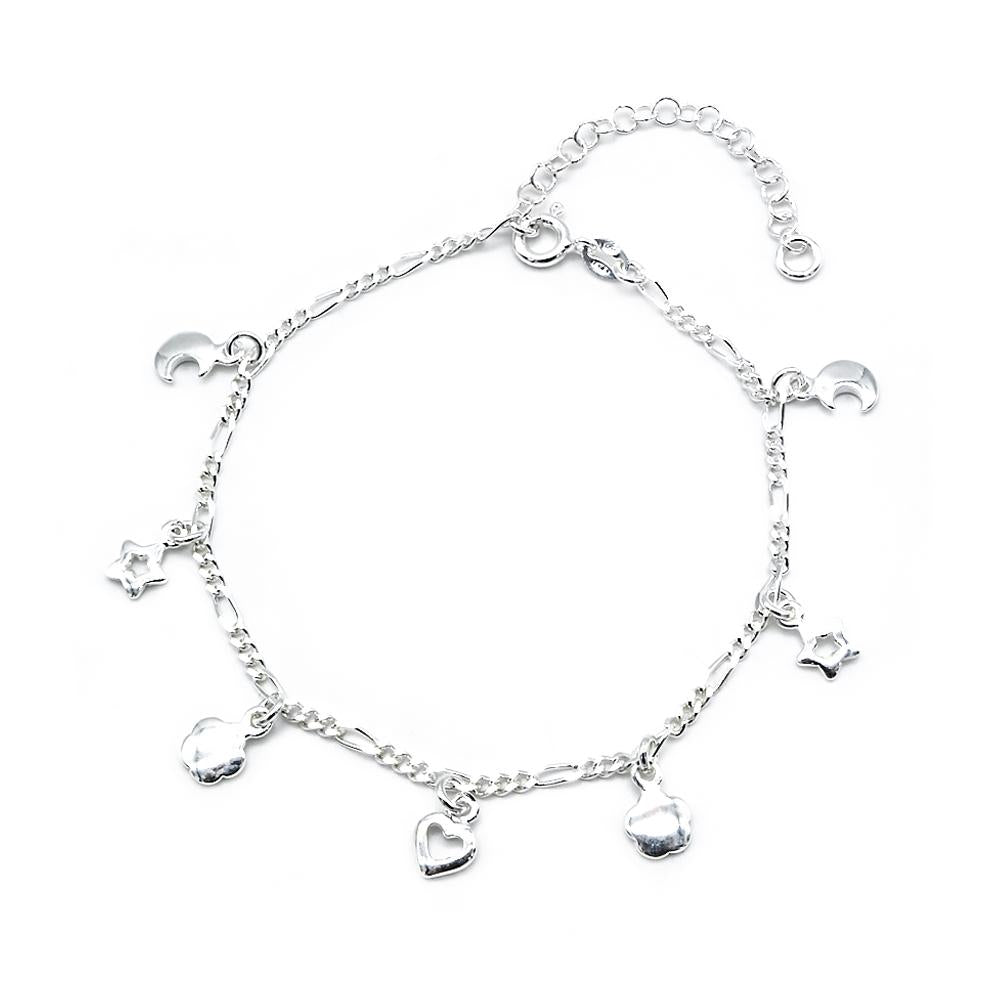 Caralynn Moon, Star, Flower and Heart Charms Silver Bracelet with Figaro Chain