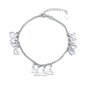 Carina Open Heart Charms Silver Bracelet with Rolo Chain