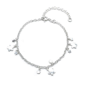Carissa Flower Charms Silver Bracelet with Rolo Chain
