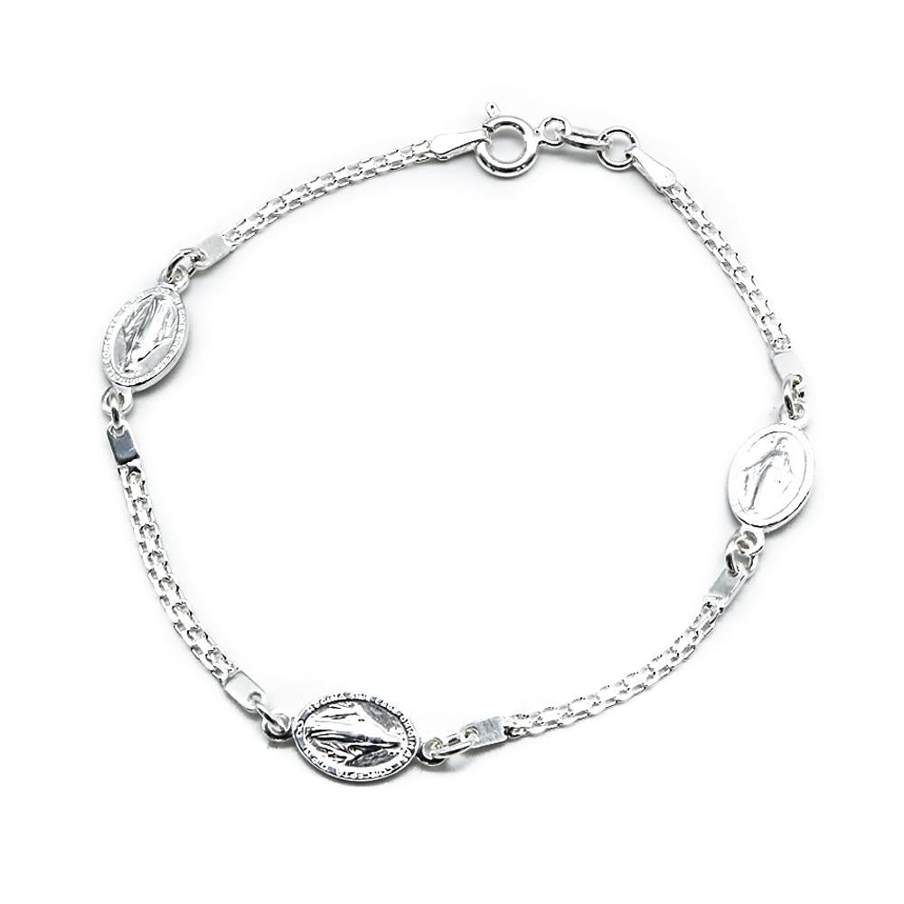 Carlin Mary's Scuplture on Oval Charms Silver Bracelet with Double Box Chain