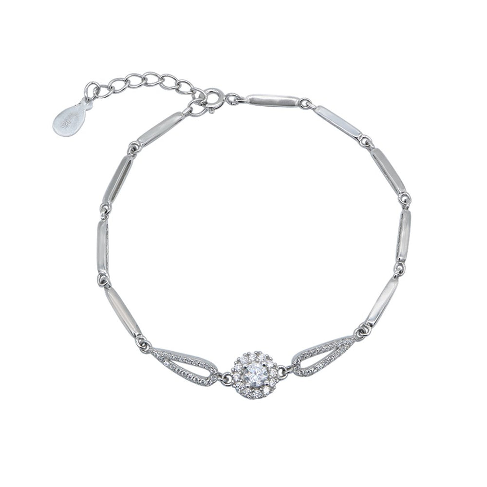 Carlota Connected Tear Drop and Round Silver Bracelet with Cubic Zirconia