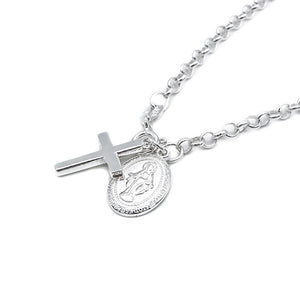 Ceira Silver Scapular and Cross Charms Bracelet with Rolo Chain 2