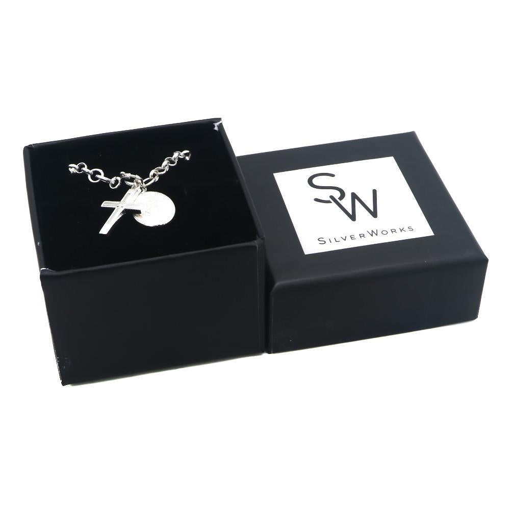 Ceira Silver Scapular and Cross Charms Bracelet with Rolo Chain Box Packaging