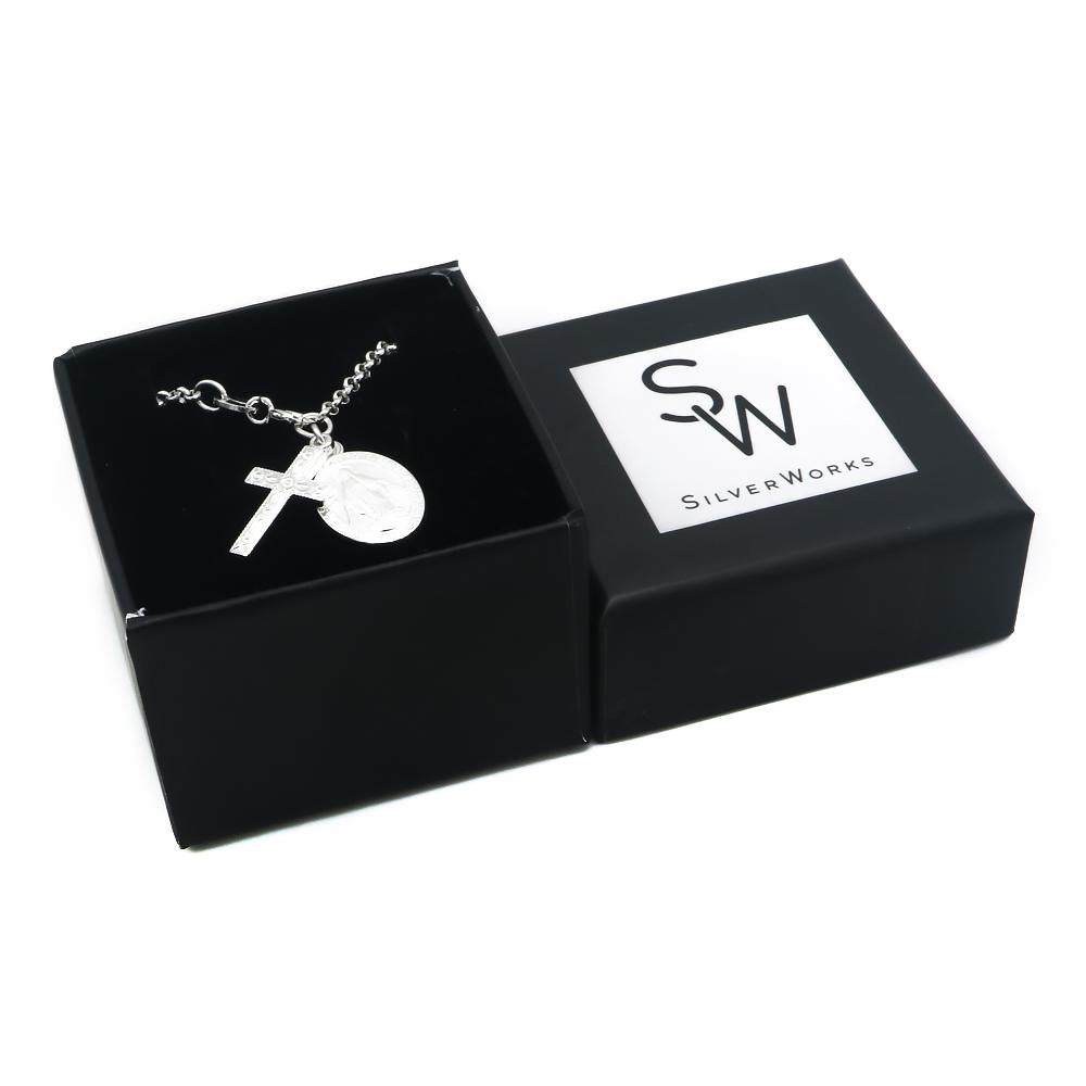 Charleigh Silver Bracelet with Scapular and Cross Pendant Box Packaging