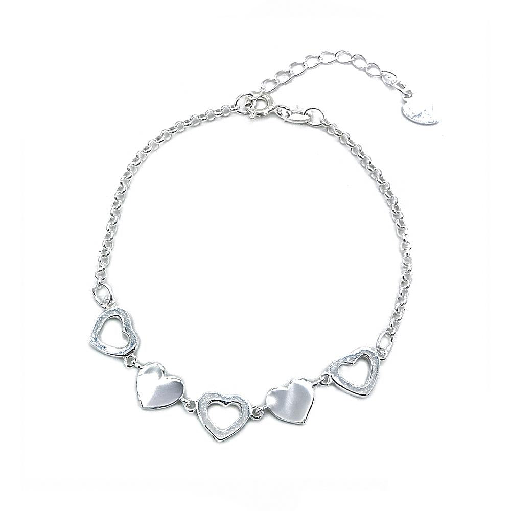 Load image into Gallery viewer, Charlotte Silver Bracelet with Alternate Cutout Heart Pendant