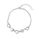Charlotte Silver Bracelet with Alternate Cutout Heart Pendant