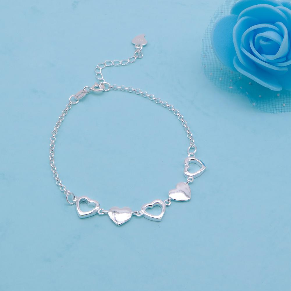 Charlotte Silver Bracelet with Alternate Cutout Heart Pendant 2