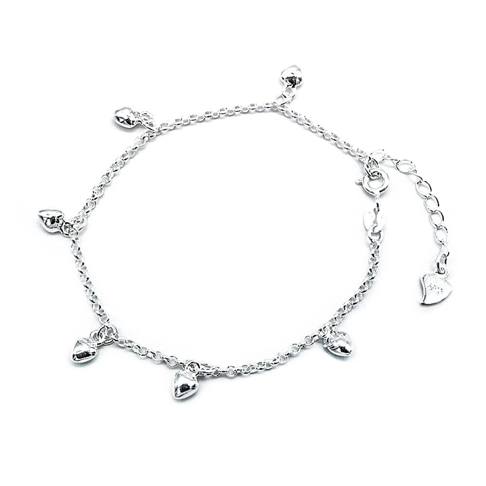 Chaira Silver Bracelet for Women with Small Heart Charms