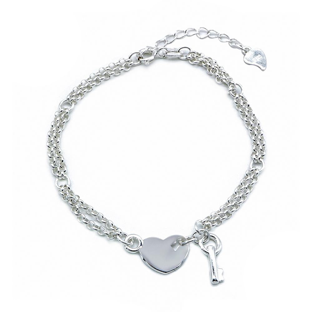 Cora Silver Double Rolo Chain Bracelet with Heart and Key