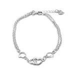 Carole Silver Bracelet with Linked Hearts in Double Chain