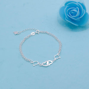 Carole Silver Bracelet with Linked Hearts in Double Chain 2