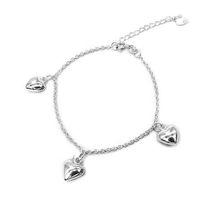 Cali Silver Bracelet with Puff Heart Charms