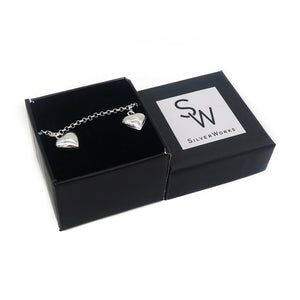 Cali Silver Bracelet with Puff Heart Charms Box Packaging