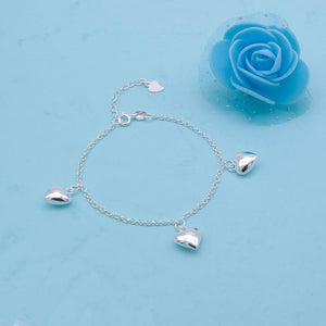 Cali Silver Bracelet with Puff Heart Charms 2