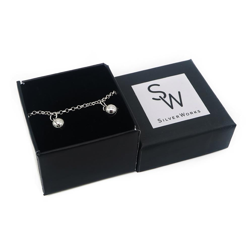 Load image into Gallery viewer, Camilla Silver Bracelet with Ball Charms Box Packaging