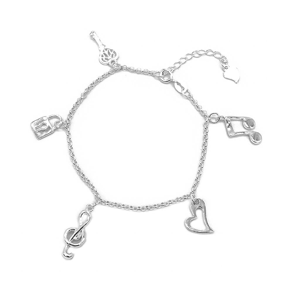 Colette Silver Bracelet with Key, Lock, G clef, Heart and Double Note Charms