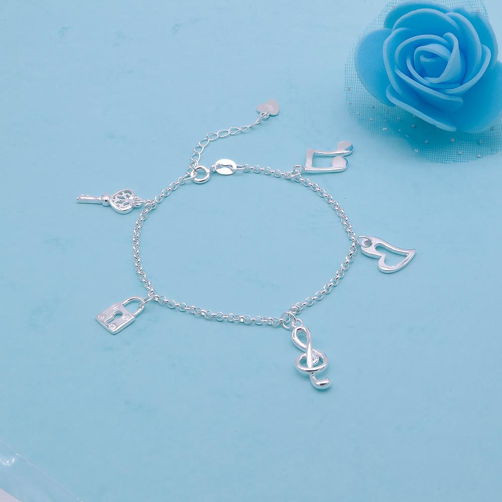 Colette Silver Bracelet for Women with Key, Lock, G clef, Heart and Double Note Charms 2