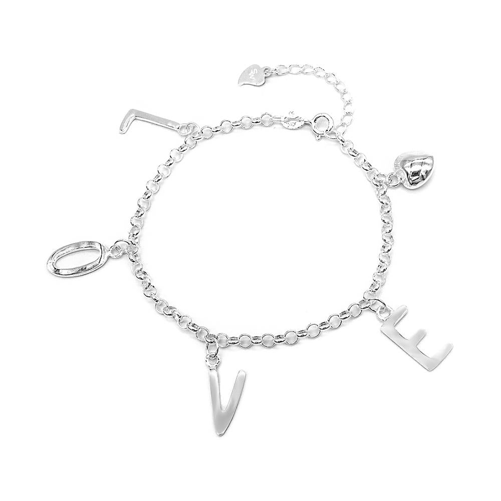 Cecilia Silver Bracelet with LOVE Heart Charms