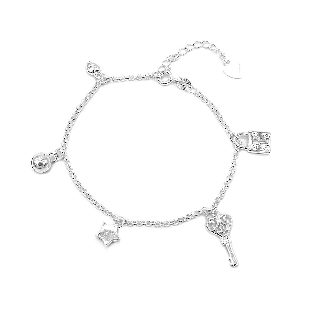 Chaya Silver Bracelet for Women with Puff Heart, Ball, Star, Key and Lock Charms