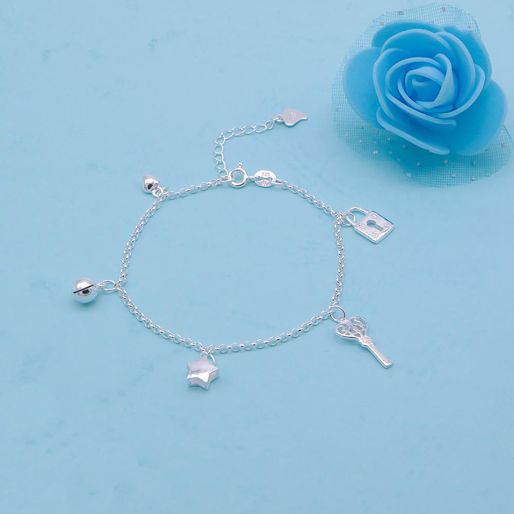 Chaya Silver Bracelet for Women with Puff Heart, Ball, Star, Key and Lock Charms 2