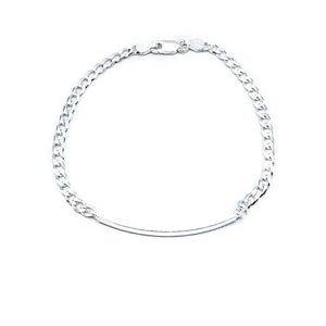 Chance Silver ID Bar Bracelet with Curb Chain