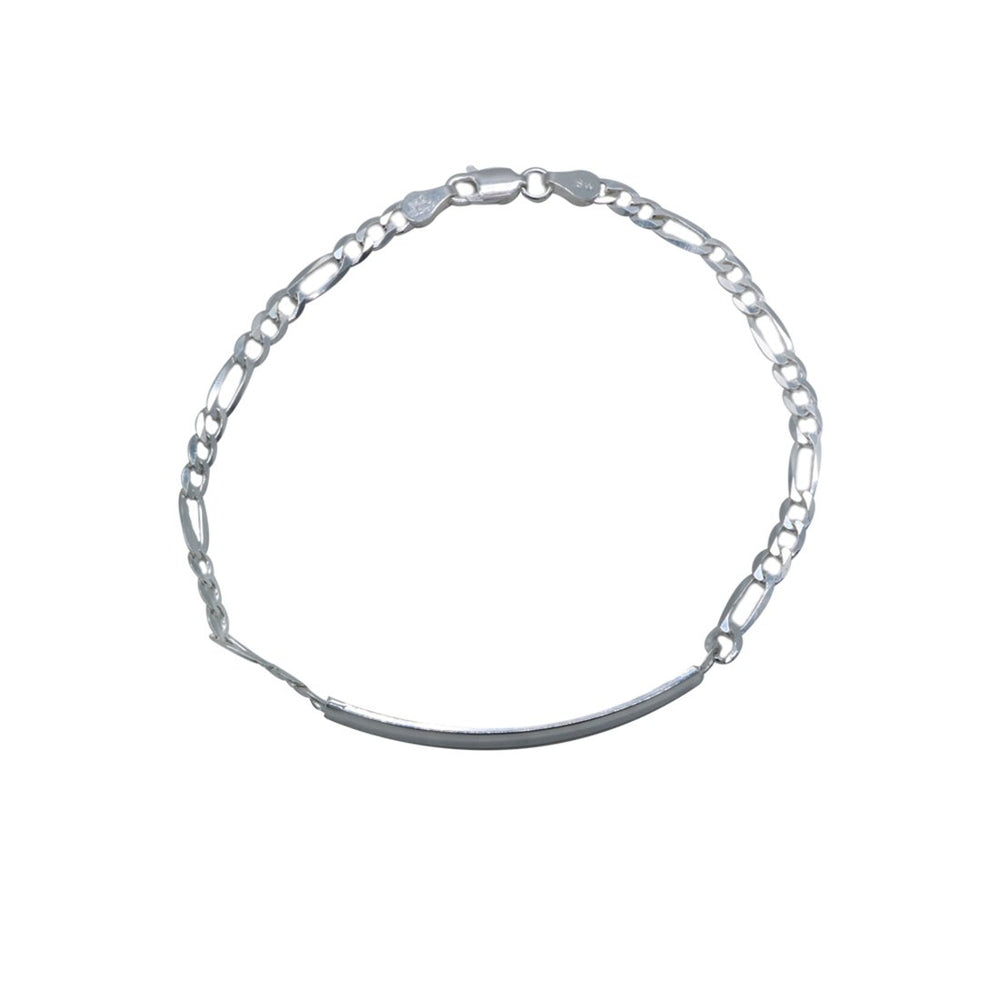 Charlize ID Bar Silver Bracelet with Figaro Chain