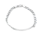 Chen Silver ID Bar Bracelet with Figaro Chain
