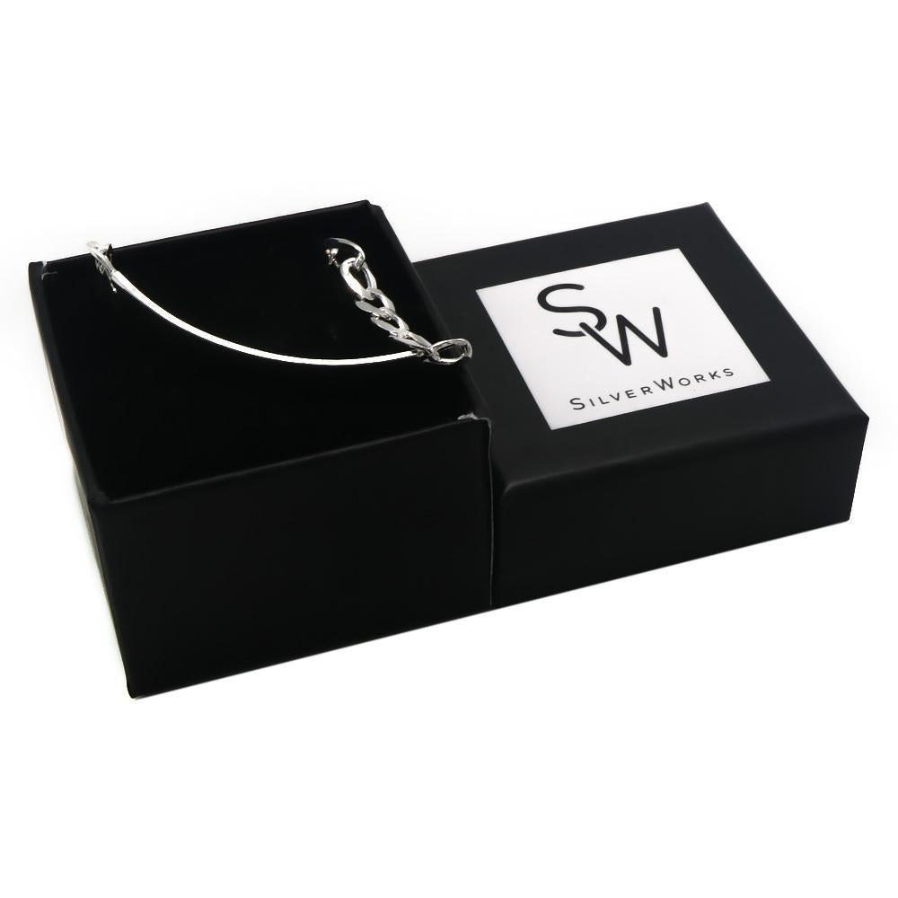 Chen Silver ID Bar Bracelet with Figaro Chain Box Packaging