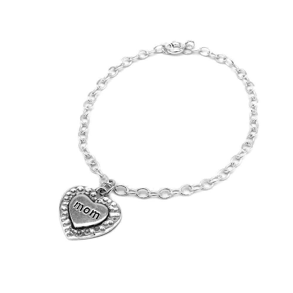Cathy Engraved Silver Mom Heart Charm Bracelet with Double Rolo Chain