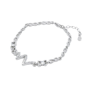 Consuelo Silver Pulse, Ribbon and Infinity Charms Bracelet with Simulated Diamonds
