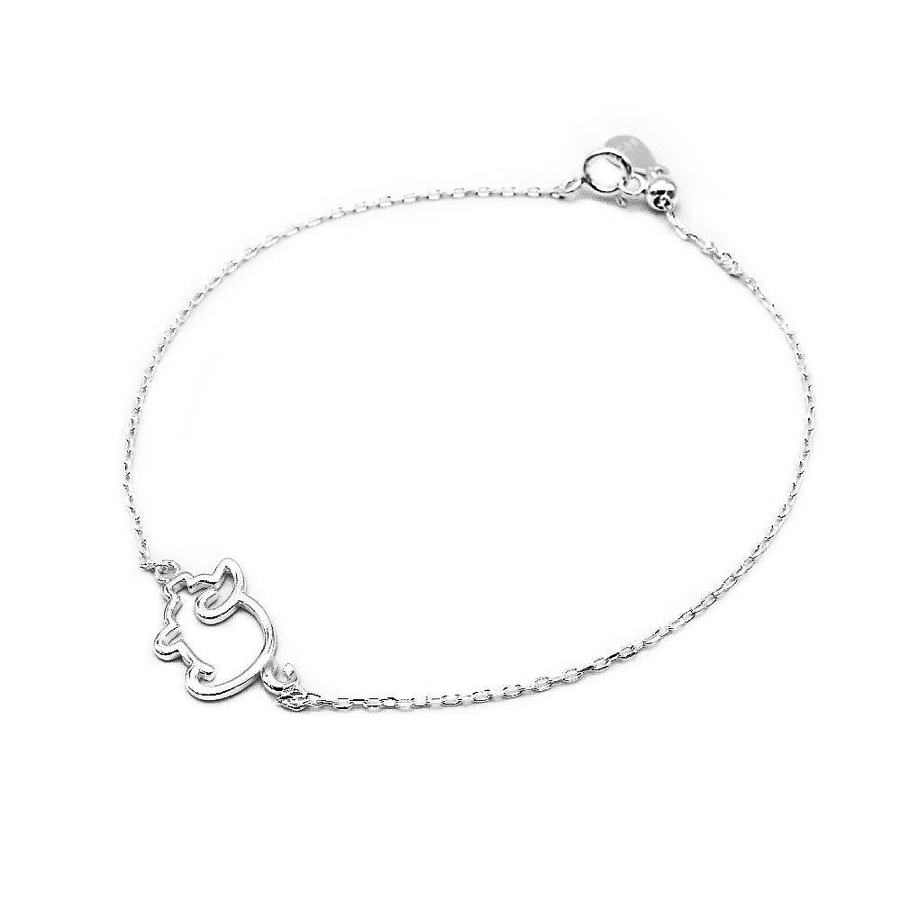 Constance Silver Pig Charm Bracelet with Rolo Chain