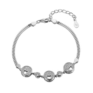 Charlie Silver Open Heart in Round Charm Bracelet with Cubic Zirconia