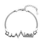 Colleen Silver Heart, Pulse and Love Charm Bracelet with Cubic Zirconia