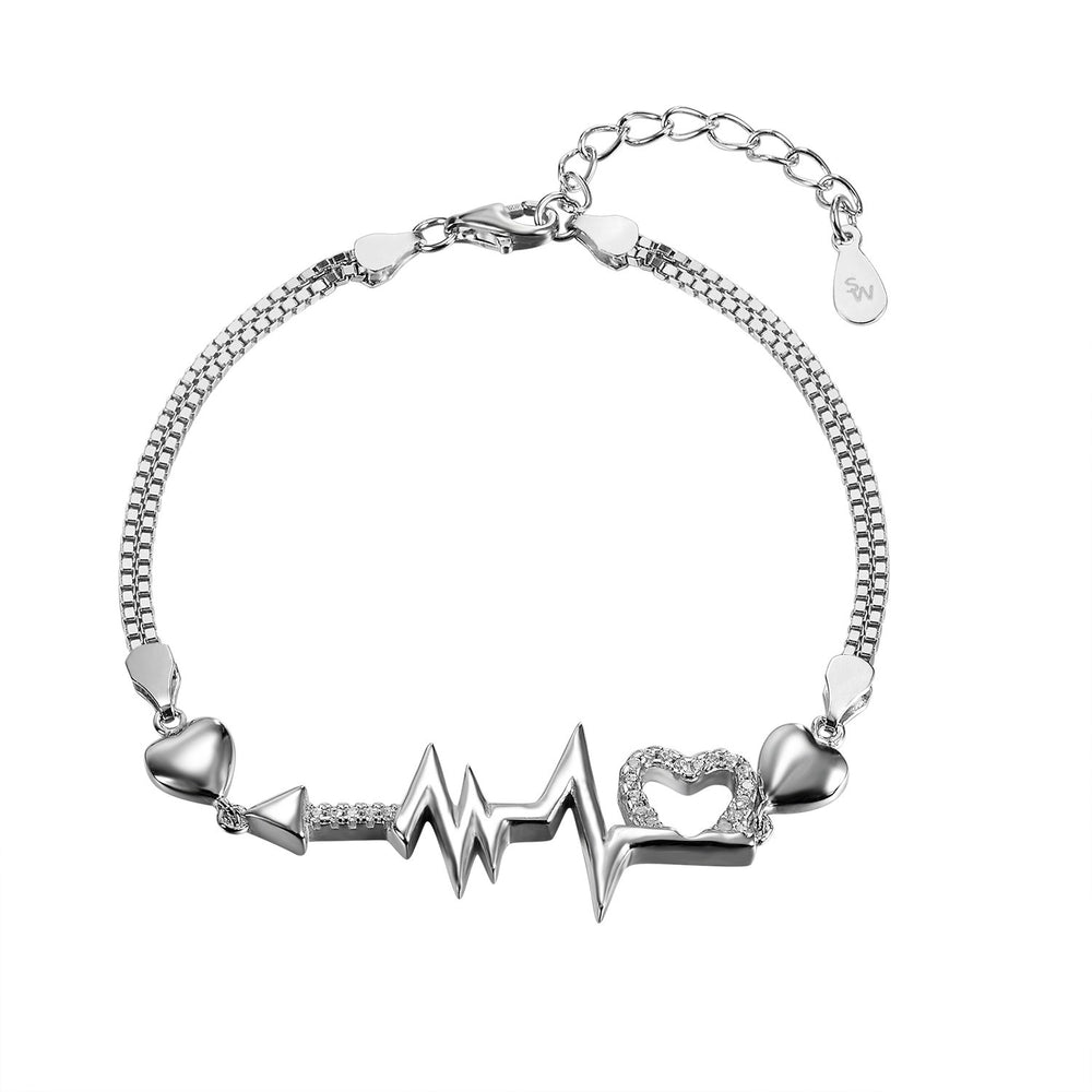 Courtney Silver Arrow, Pulse and Heart Charm Bracelet with Cubic Zirconia