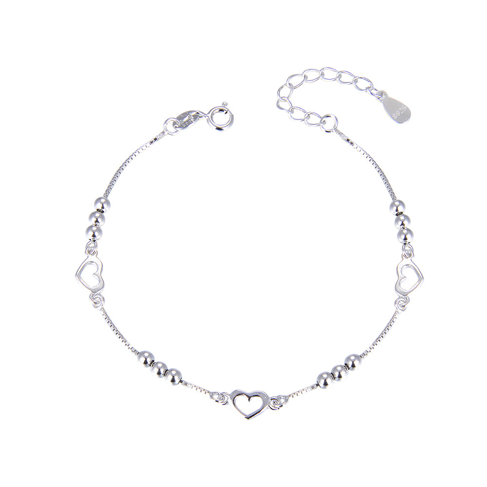 Chi Silver Heart and Ball Charm Bracelet with Box Chain