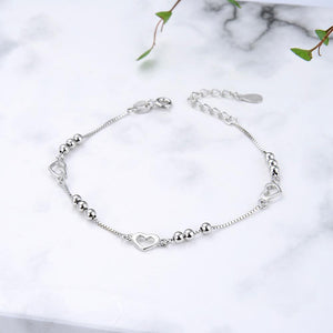Chi Silver Heart and Ball Charm Bracelet with Box Chain 2