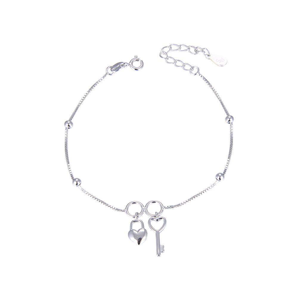 Christa Key, Heart Padlock and Ball Charms Silver Bracelet with Box Chain