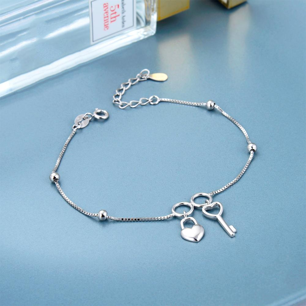 Load image into Gallery viewer, Christabel Key, Heart Padlock and Ball Charms Silver Bracelet with Box Chain 3