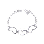 Cathleen Open Chained Heart Silver Bracelet with Rolo Chain
