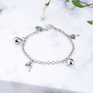 Catharina Key and Heart Charms Silver Bracelet with Rolo Chain