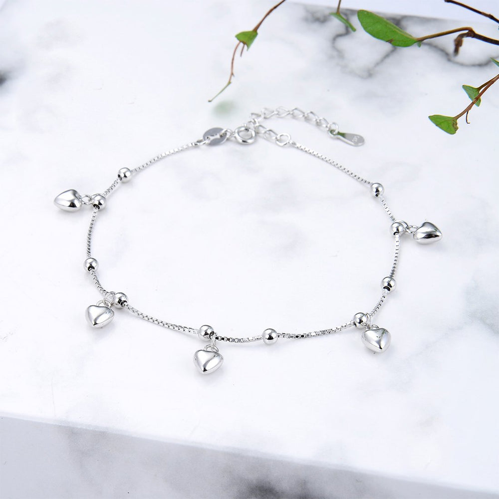 Catriona Dangling Heart Charms Silver Bracelet with Box Chain