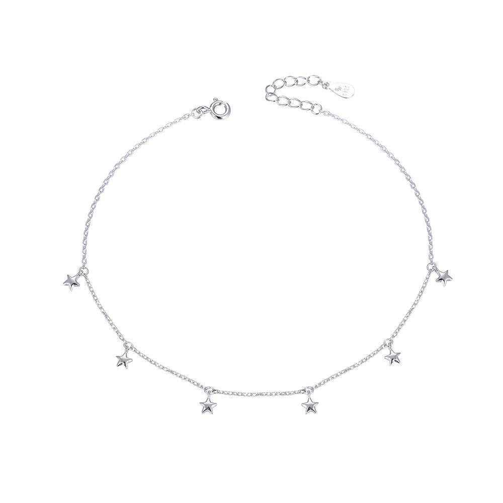 Ciana Silver Star Charms Bracelet with Rolo Chain