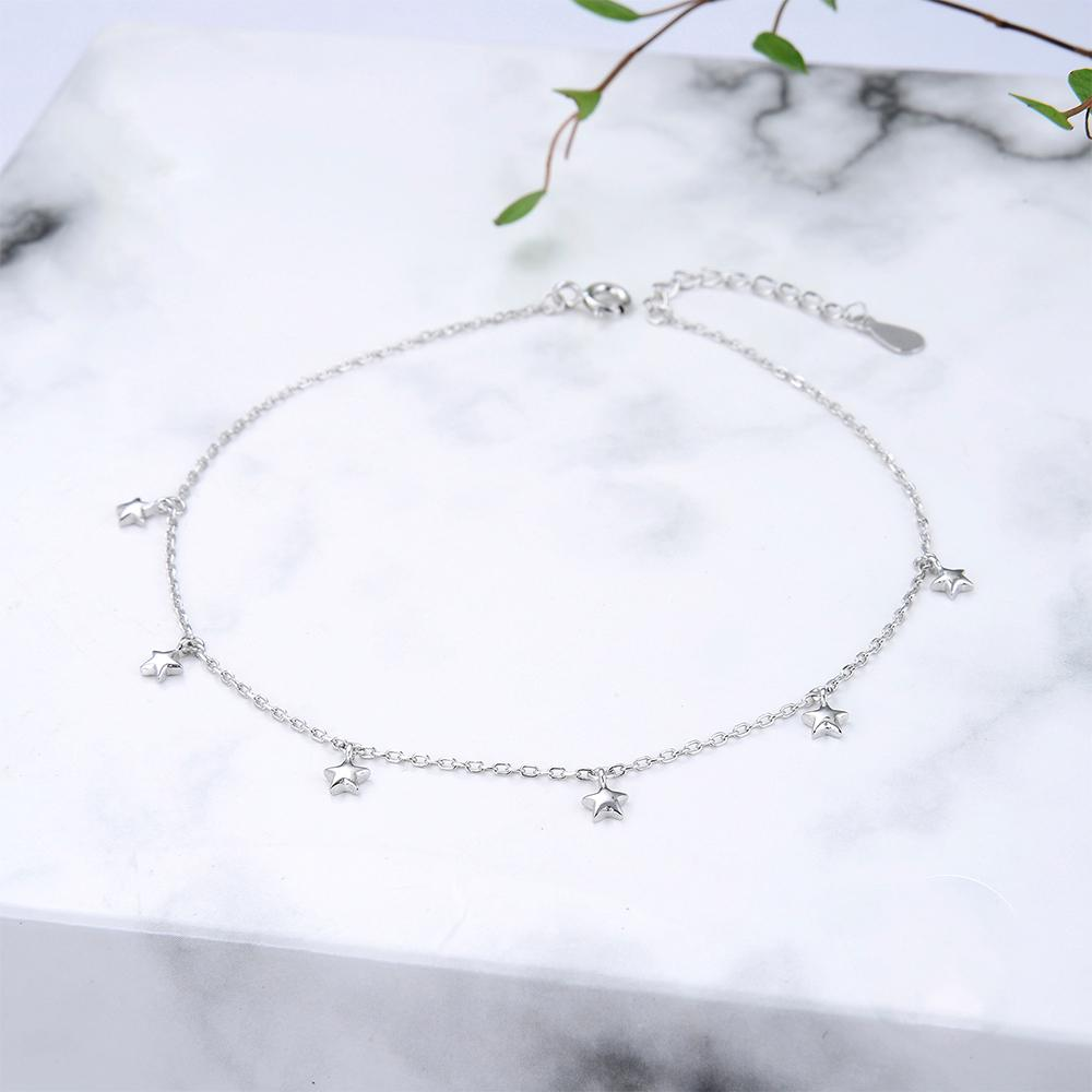 Ciana Silver Star Charms Bracelet with Rolo Chain 2