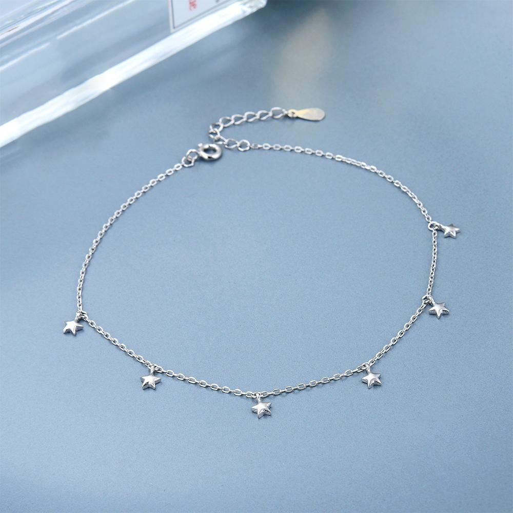 Ciana Silver Star Charms Bracelet with Rolo Chain 3