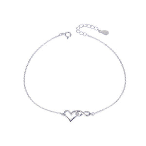 Clodagh Silver Open Heart and Infinity Charms Bracelet with Cable Chain