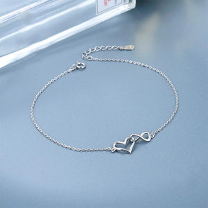 Clodagh Silver Open Heart and Infinity Charms Bracelet with Cable Chain 3