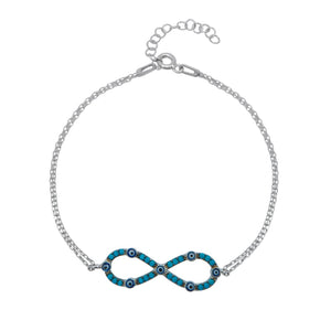 Load image into Gallery viewer, Cruella Turquoise Infinity Charm Silver Bracelet with Double Rolo Chain