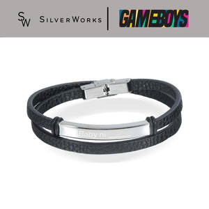 "Gameboys Collection Black Engravable Endearment Bracelet ""Baby ni ____"""