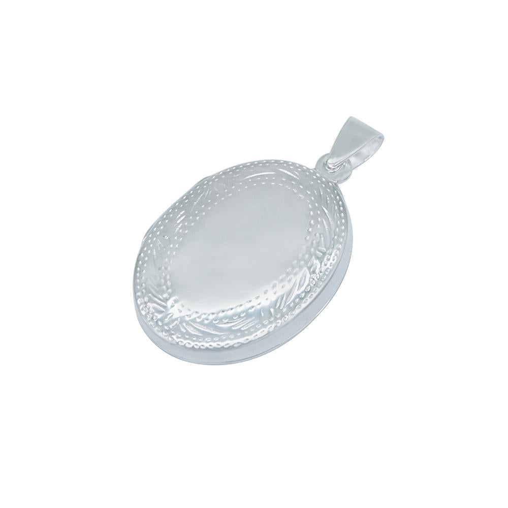 Aea Silver Oval Locket Charm with Engraved Design
