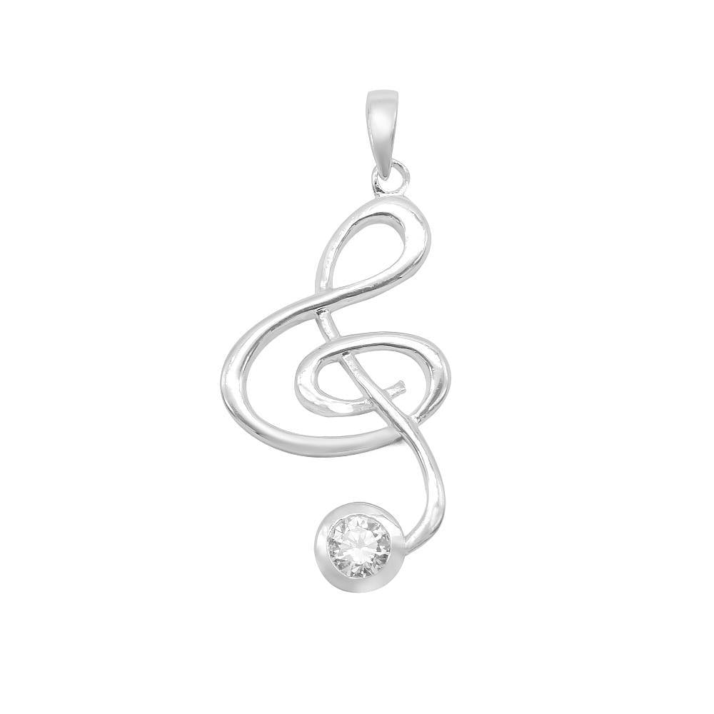Load image into Gallery viewer, Adrienne Silver G Clef Charm with Cubic Zirconia